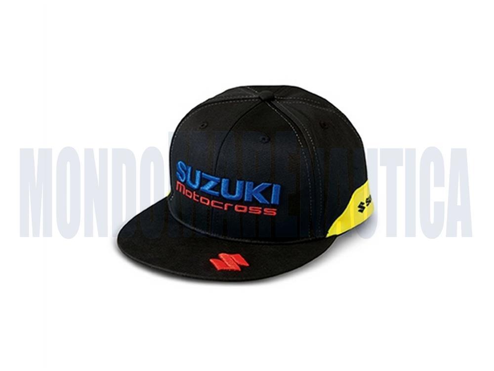 Cappellino Suzuki con visiera piatta motocross yellow. loghi Suzuki  ricamati e1f45a939cc7