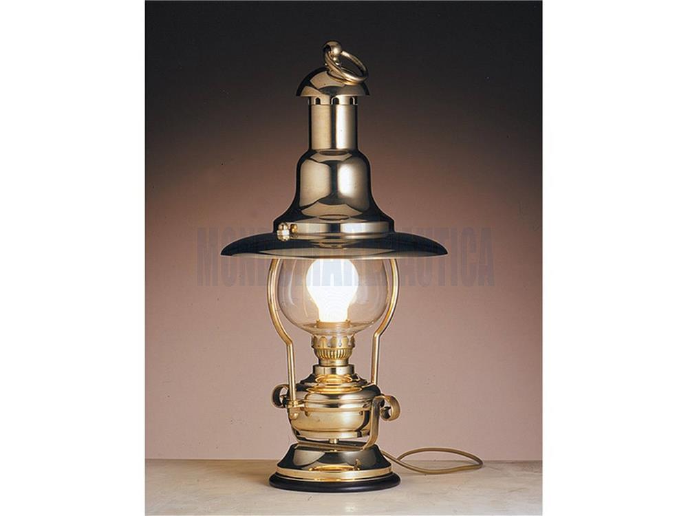 lampada da tavolo ottone lanterna elettrica in vendita lampade old navy vecchia marina arredo. Black Bedroom Furniture Sets. Home Design Ideas